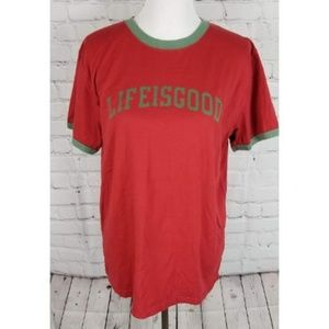 Life is Good red graphic army green T shirt